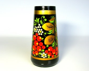 70s Russian Hand Painted Wooden Vase / Pen Holder / Pencil Holder / Russian / Khokhloma / Folk Art / Desk Decor / Gold / Red / Black / Boho