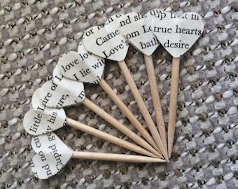 Shakespeare Love Sonnet Mini Heart Cupcake Toppers