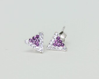 Sterling Silver Stud Earrings, Swarovsky Crystals, 7mm Side of Triangle, Amethyst Crystal Color, Unique BlingBling Style Stud Earrings