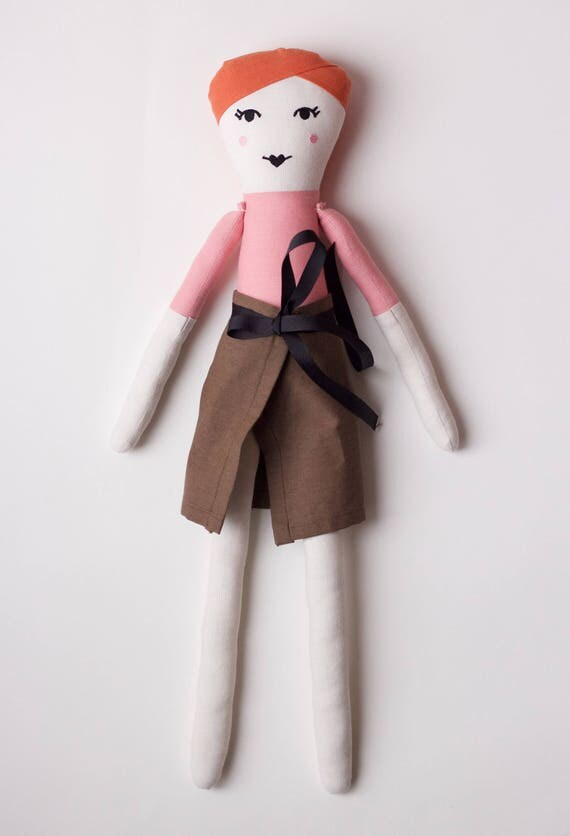 Brat-Pack Actress Molly Ringwald Cloth Doll: handmade with organic cotton