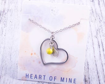 Customizable! Heart of Mine: Tennis Racket Necklace - Great Tennis Gift!