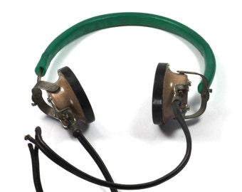 Vintage Soviet Bakelite And Plastic Phone Headsets, Telephone, Radio Headset, Made in USSR, Telephone Headset, Bakelite, Plastic, Headsets