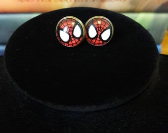 Spiderman Cabochon Stud Earrings
