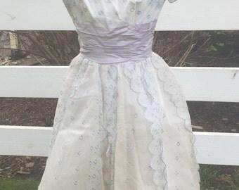 Vintage Gardenis 1950's Floral Party Wedding Summer Full Skirt Dress
