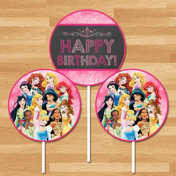 Disney Princess Centerpieces - Chalkboard - Princess Round Centerpiece - Disney Princess Birthday Party Centerpiece - Princess Printables