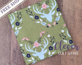 Antlers in Cactus, Meadow, Camelot Fabrics (100% Cotton Quilting Fabric, Yardage)