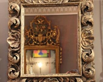 Vintage Italian mirror, Silver plated wood framed mirror, Mid century mirror, Wood framed mirror, Mirror, Italian mirror, Bedroom mirror