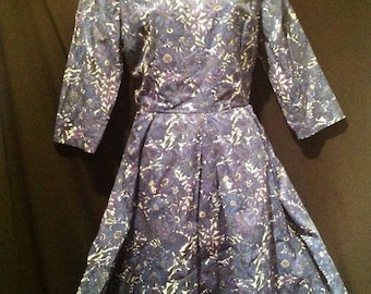 1950s Ladies Day Dress /50s  Navy Blue and purple Flowers Dress
