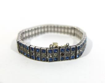 Art Deco Diamonbar Sterling Silver Flexible Bracelet with Blue and Clear Rhinestones