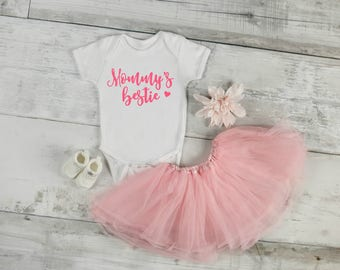 Mommy's Bestie, Baby Girl Onesie, Bestie, Mama, Baby Onesie, Baby Shower Gift, Mommy and Me
