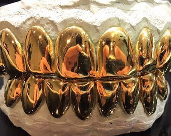 10K Solid Yellow Gold Custom fit REAL Perm Cut Grill Gold Teeth GRILLZ.