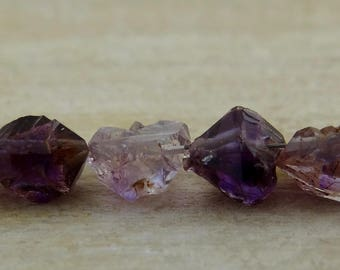 Amethyst | Double Terminated Rough Cut Nugget Beads | Sets of 6, Sets of 12