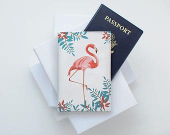 Flamingo Print Animal Holder Travel Wallet Passport Cover Leather Passport Leather Passport Holder Passport Gift For Her Leather Pass CP0078