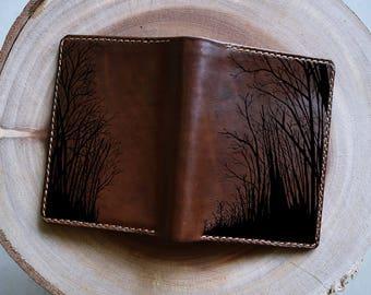 Tree wallet/man wallet/handmade leather wallet/bi-folder wallet/customized wallet/boyfriend gifts/birthday gifts/husband gifts/simple wallet