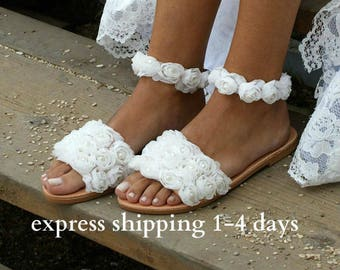 "handmade to order/ wedding sandals/ bridal sandals/ flower sandals/ romantic greek sandals/ off white sandals/ wedding shoes/ ""LE JARDIN"""