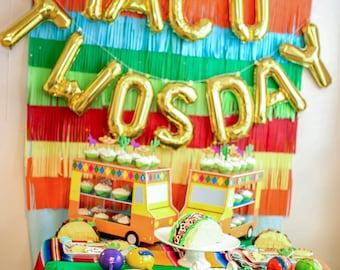 Taco Twosday Letter Balloons - Taco Twosday Party Decor - Taco Twosday Birthday - Fiesta Party Decor - 2nd Birthday Decor - Taco Tuesday
