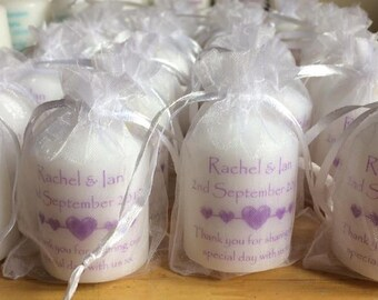 Personalised Candle 5cm scented candle Wedding Favours (Set of 10)
