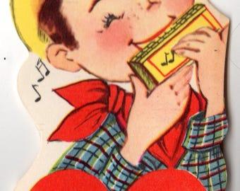 Vintage Cowboy Boy with Harmonica Die-Cut Children's Classroom Valentine's Day Card