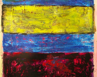 Blue Painting Mark Rothko Inspired Color Bands Yellow Red Highly Textured on paper 20th Midcentury Retro Design Original Painting Art Modern