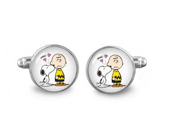Snoopy Cuff Links Charlie Brown Cufflinks 16mm Cufflinks Gift for Men Groomsmen Novelty Cuff links Fandom Jewelry