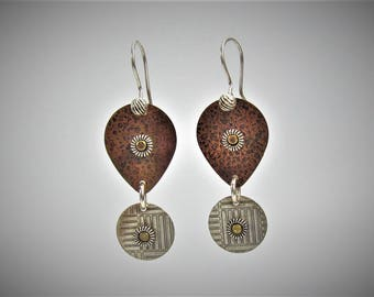 Item 4200-27 Handcrafted Sterling and Copper Textured Lightweight Tear Drop Shape Dangle Earrings