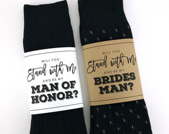 Will you be my Bridesman Sock Wrapper, Will you be my Man of Honor Sock Wrapper, Wedding Socks Wrapper, Wedding Socks Label