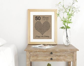 Reasons I love You- Birthday Gift for Mom- Why I Love You- 60 Reasons We Love You- 50th Birthday Gift- Anniversary Gift- Husband Gift-