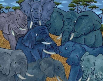 A Land of Friendship African Elephant print in A4 or 6x4