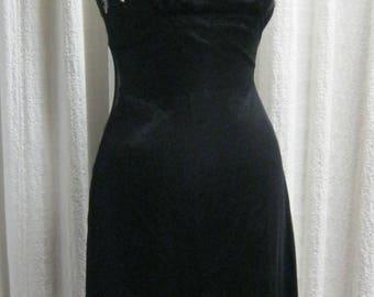 Betsey Johnson Evening Black Slip Dress | Beaded Chiffon | Size 4