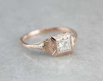 Princess Cut Diamond Engagement Ring in The Rose Gold Elwyn Setting from The Elizabeth Henry Collection TCT5Y3W8-P
