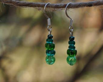 Green and Teal Dangle Earrings