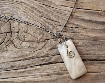 Banded Moonstone Wire Wrap Necklace