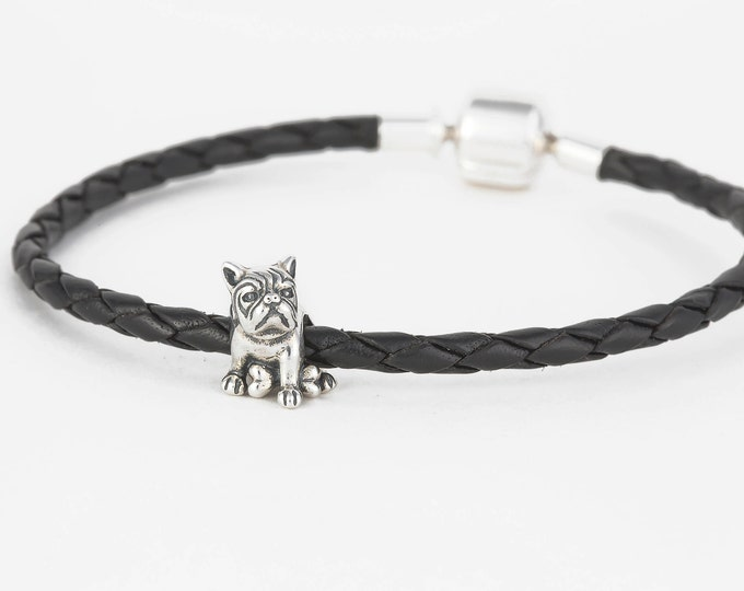 French Bulldog Charm | Silver Jewellery Bead, Animal Charms for Bracelet, Charm Necklace Gift for Her, Delicate Puppy Dog Charm