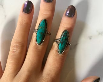 Vintage Sterling Silver + Turquoise Women's Rings size 5.5