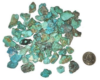 3 Rough Turquoise Nuggets from Mexico - Small Blue Green Turquoise Raw Pieces - Chakra, Reiki, Crystal Healing
