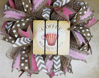 Inventory Sale ,Coffee Wreath, Good Morning Wreath, Kitchen Wreath, Wall Decor,