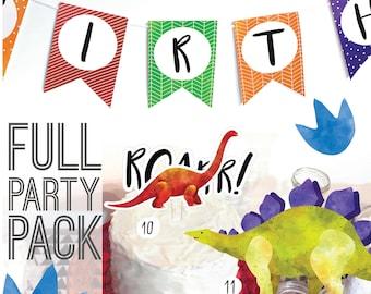 Dinosaur Birthday Printables - Dinosaur Party Decor - Party Decorations - Cake Topper - Dino Party Supplies - Dinosaur Birthday Invitations