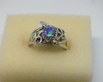 Sterling Silver Blue Opal ring suize 6