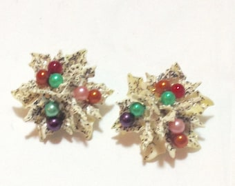 Vintage Flower Beaded Clip Earrings