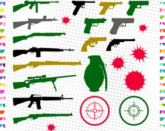 Gun svg silhouette - Guns vector files, svg, dxf, eps, png - Weapon Svg, Gun Svg Silhouette, Pistol Svg, Gun Clipart, Rifle Svg - SVG Bundle