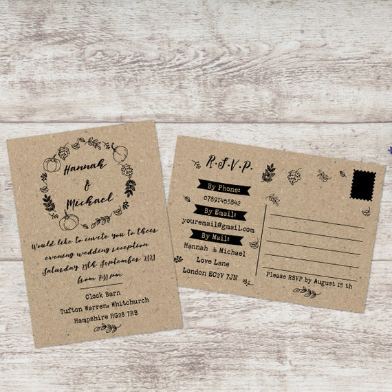 Fall wedding invitations with RSVP included, Postcard wedding invitations and RSVP, Kraft wedding invite set, Boho wedding invite suite, A6