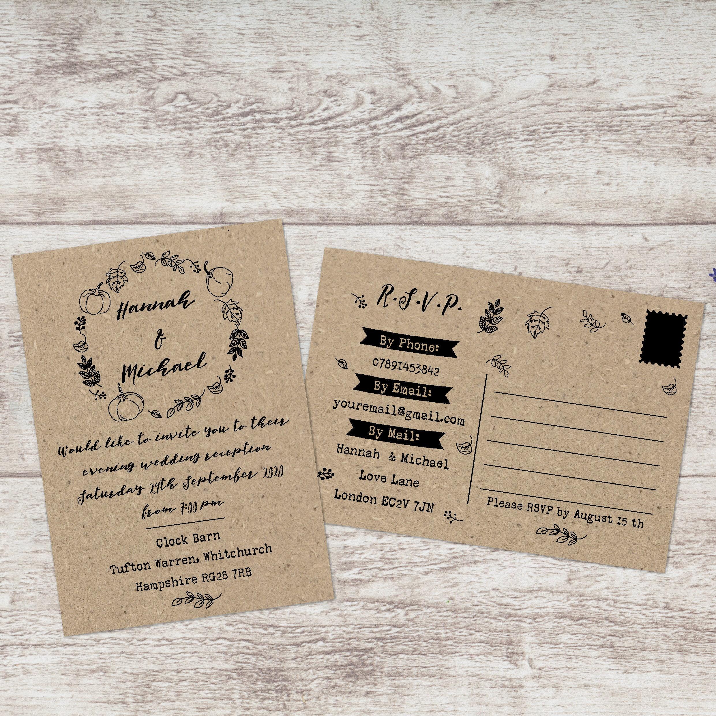 Fall Wedding Invitations With RSVP, Postcard Wedding Invitations And RSVP,  Wedding Reception Invites, Vintage Postcard Wedding Invitation A6