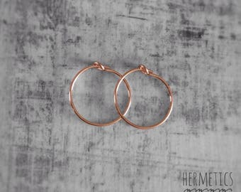 Rose Gold Earrings - Rose Gold Hoops - Simple Hoops - Red Gold Jewelery
