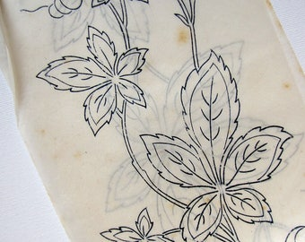 antique iron on embroidery transfer - large autumn leaf border - unused wax transfer