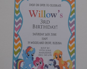 Pack of 10 ~ My Little Pony themed party invitation
