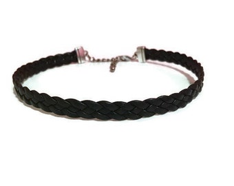 Leather Choker, Adjustable Leather Choker, Braided Leather Choker, Braided Leather, Black Leather, Gift for Her, Gifts, Chokers, Jewelry