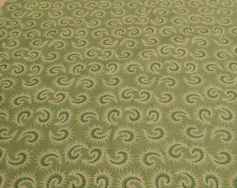 Heritage Hollow-Green Swirls with Gold Cotton (6319) Fabric Designed by Kim Diehl for Henry Glass