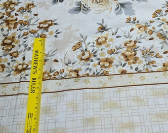 Asian Traditions-Antique-Large Flower with Border Cotton Fabric from Robert Kaufman Fabrics
