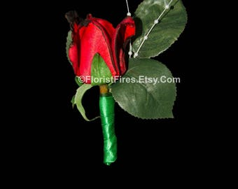 Florist Fires™ Signature Burned Red Rose Wedding Boutonniere Corsage Anti Valentines Day Divorce Party Bachelorette Party