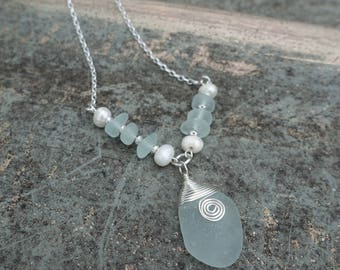 Aqua Green Sea Glass Necklace with Freshwater Pearls, .925 Sterling Silver, Unique One of a Kind Gift for Her, Beach Jewelry, Christmas Gift
